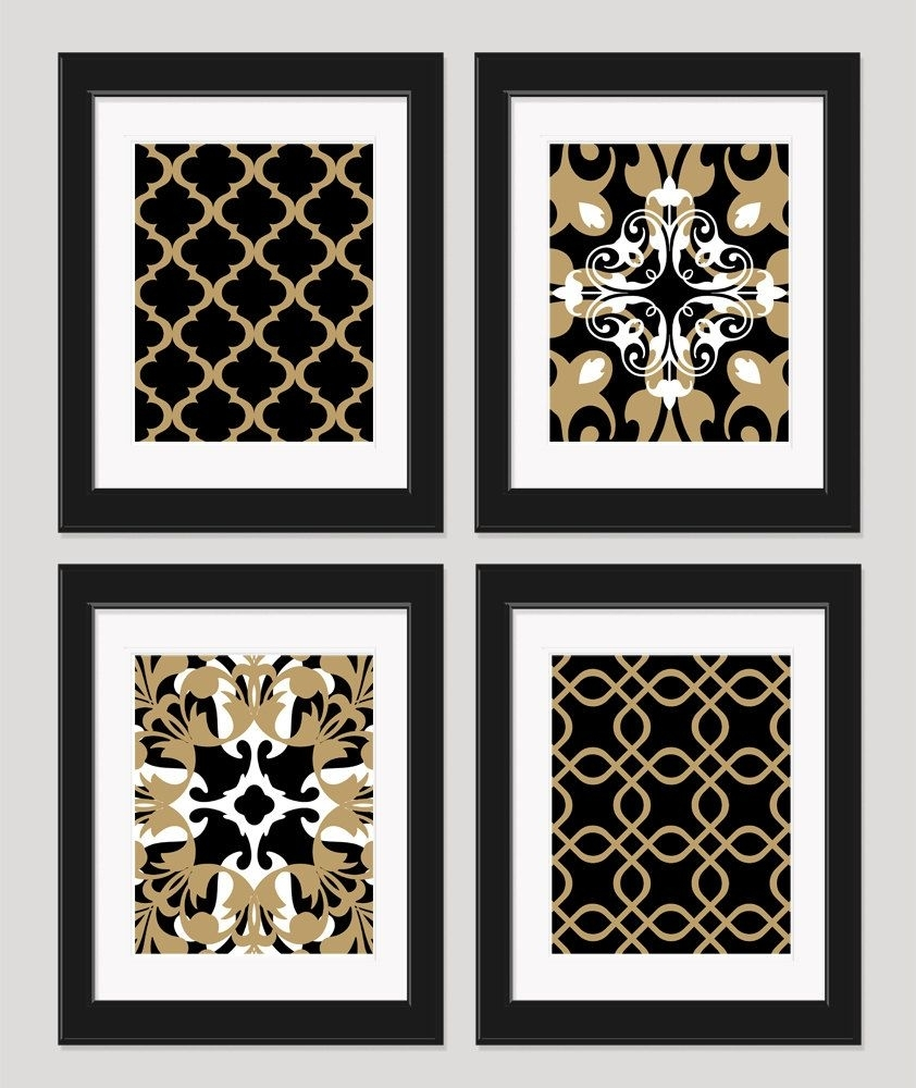 Black White Gold Art Black Gold Wall Art Set Of 4inkandnectar Pertaining To Latest Black And Gold Wall Art (View 3 of 20)