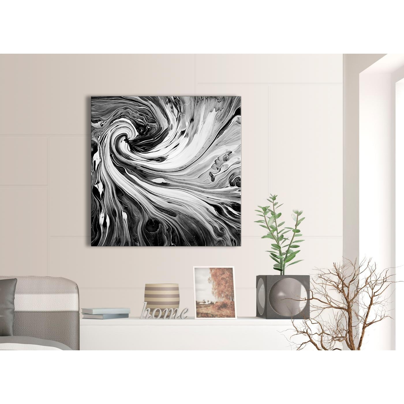 Black White Grey Swirls Modern Abstract Canvas Wall Art – 79cm With Most Up To Date Grey And White Wall Art (View 9 of 20)