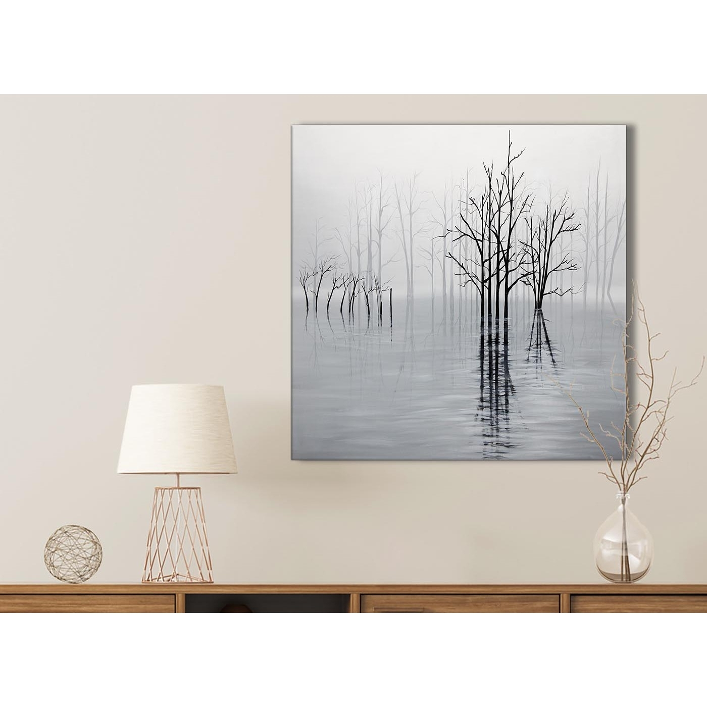 Black White Grey Tree Landscape Painting Kitchen Canvas Wall Art Pertaining To Current Grey And White Wall Art (View 11 of 20)