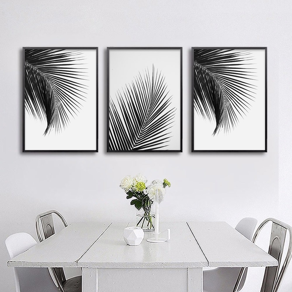 Black White Palm Tree Leaves Canvas Posters And Prints Minimalist Throughout Recent White Wall Art (View 3 of 20)