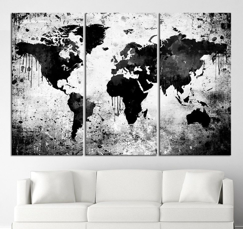 Black White World Map Canvas Print – Contemporary 3 Panel Triptych Inside Most Up To Date Black And White Large Canvas Wall Art (View 7 of 20)