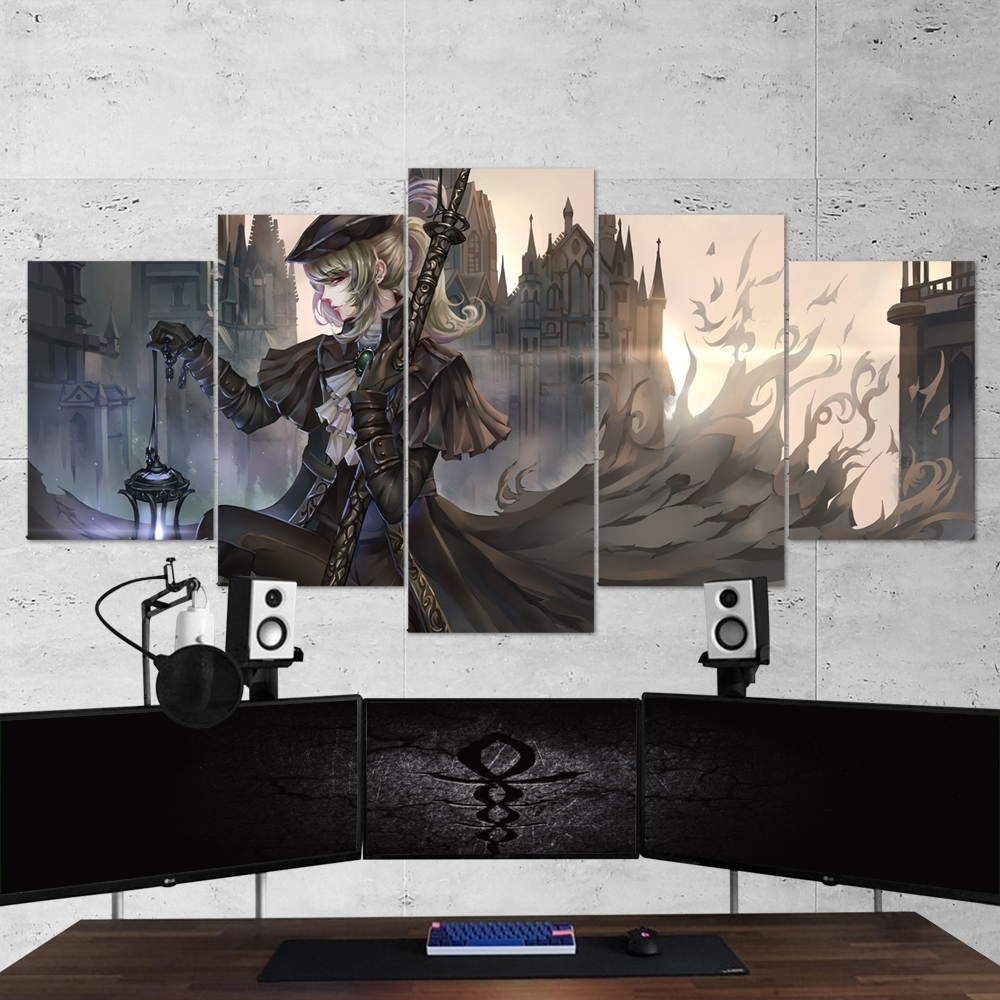 Bloodborne 14 Lady Maria 5 Piece Canvas Wall Art Gaming Canvas Inside Best And Newest 5 Piece Canvas Wall Art (View 11 of 20)
