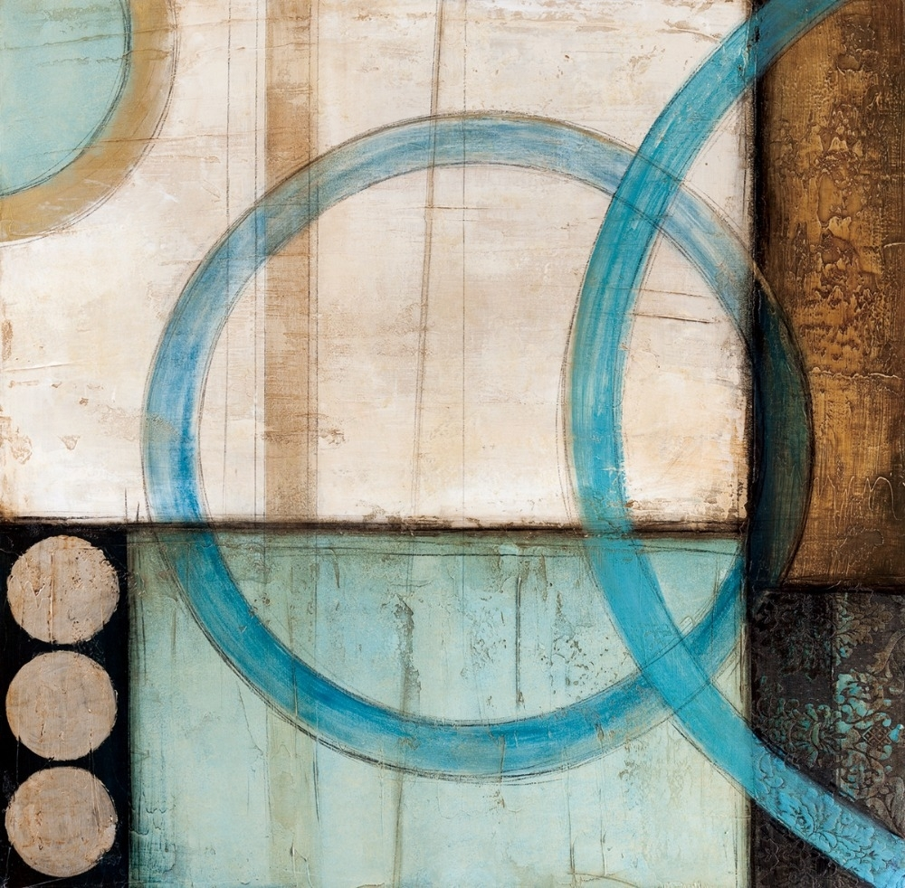 Blue And Brown Circles Modern Abstract Oil Painting Canvas Wall Art Within Most Up To Date Teal And Brown Wall Art (View 12 of 20)