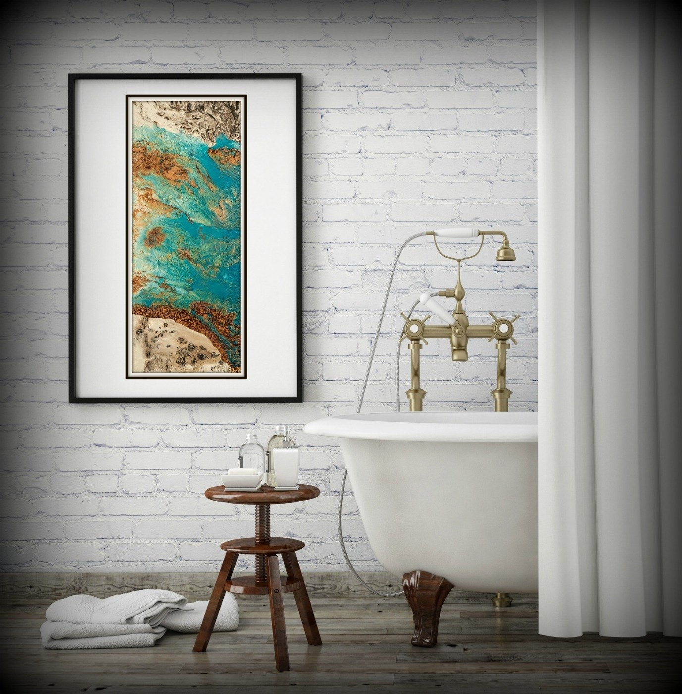 Blue And Copper Art, Vertical Wall Art Prints Fine Art Prints Regarding Most Recent Vertical Wall Art (View 7 of 20)