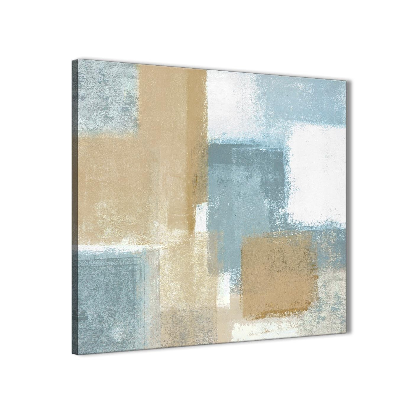 Blue Beige Brown Abstract Painting Canvas Wall Art Print – Modern Throughout Newest Teal And Brown Wall Art (View 9 of 20)