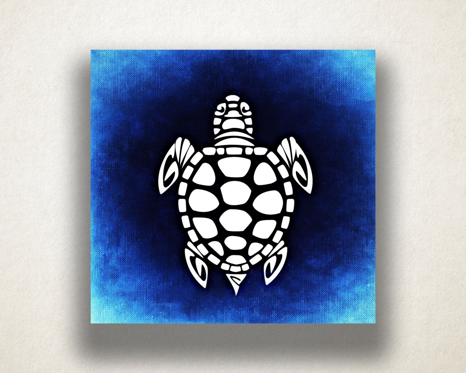 Blue Sea Turtle Canvas Art Print, Oceanlife Wall Art, Animal Canvas Intended For Recent Sea Turtle Canvas Wall Art (View 5 of 20)