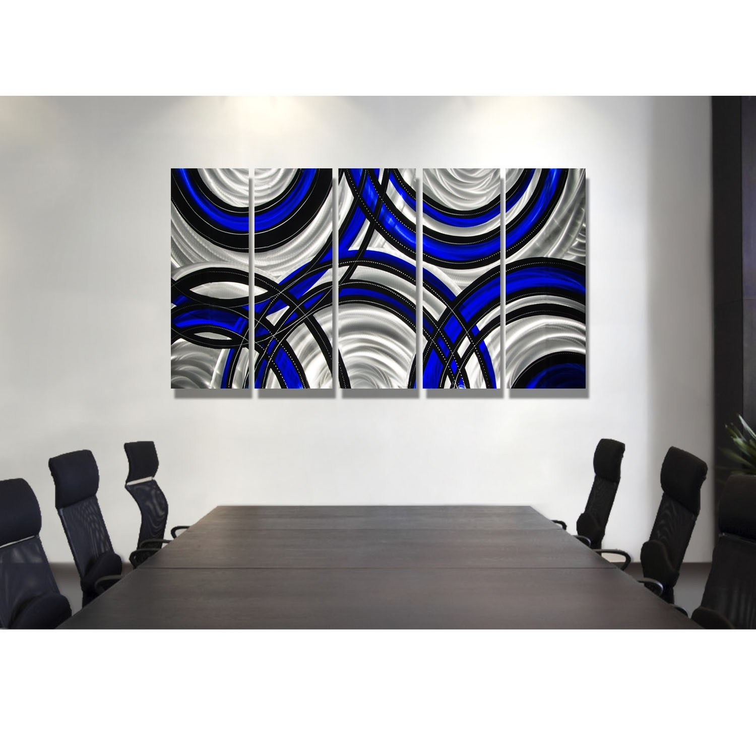 Blue Synergy – Blue, Black And Silver Metal Wall Art – 5 Panel Wall Inside Most Popular Black Wall Art (View 10 of 20)