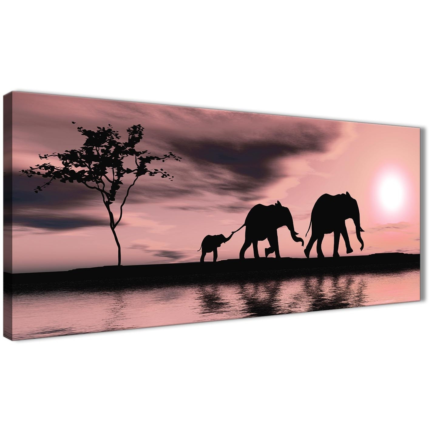 Blush Pink African Sunset Elephants Canvas Wall Art Print – Modern Inside Best And Newest Elephant Canvas Wall Art (View 8 of 20)