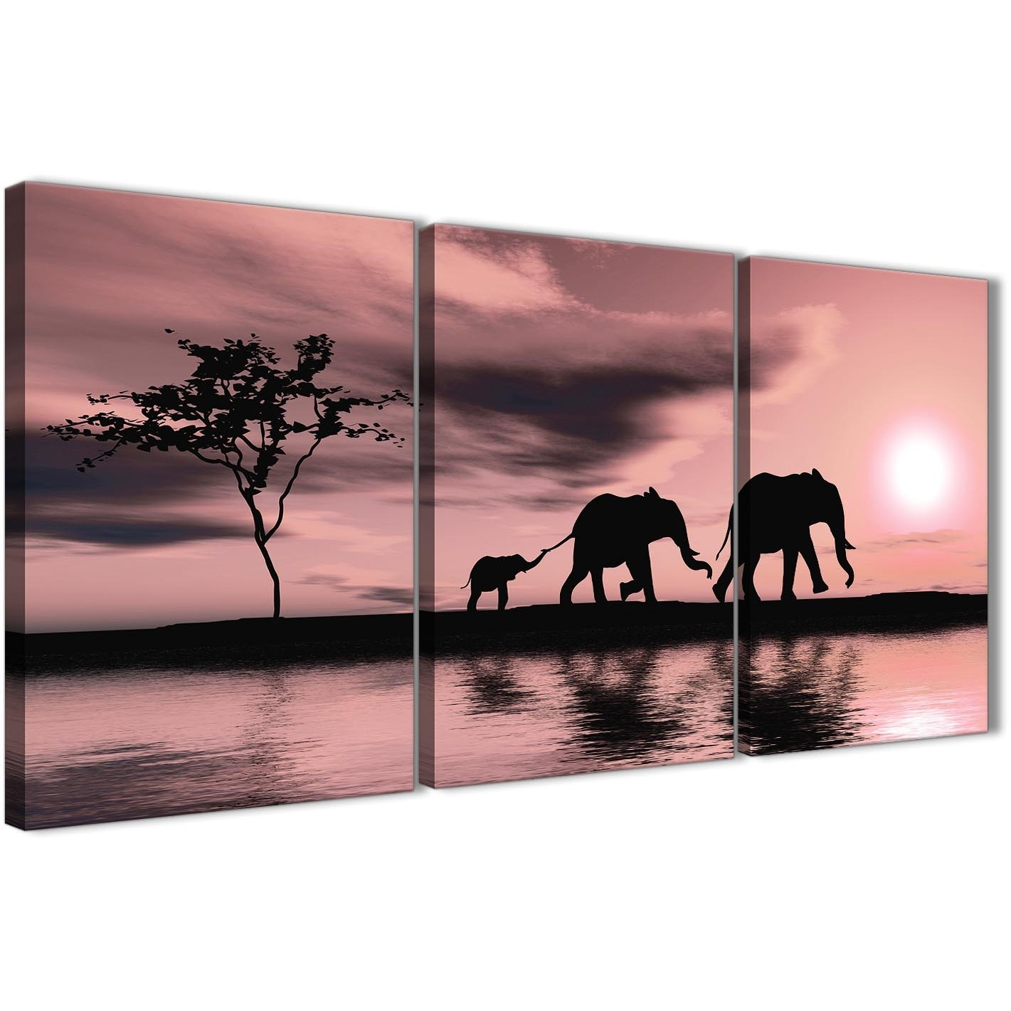 Blush Pink African Sunset Elephants Canvas Wall Art Print – Multi Intended For Best And Newest Elephant Canvas Wall Art (View 9 of 20)