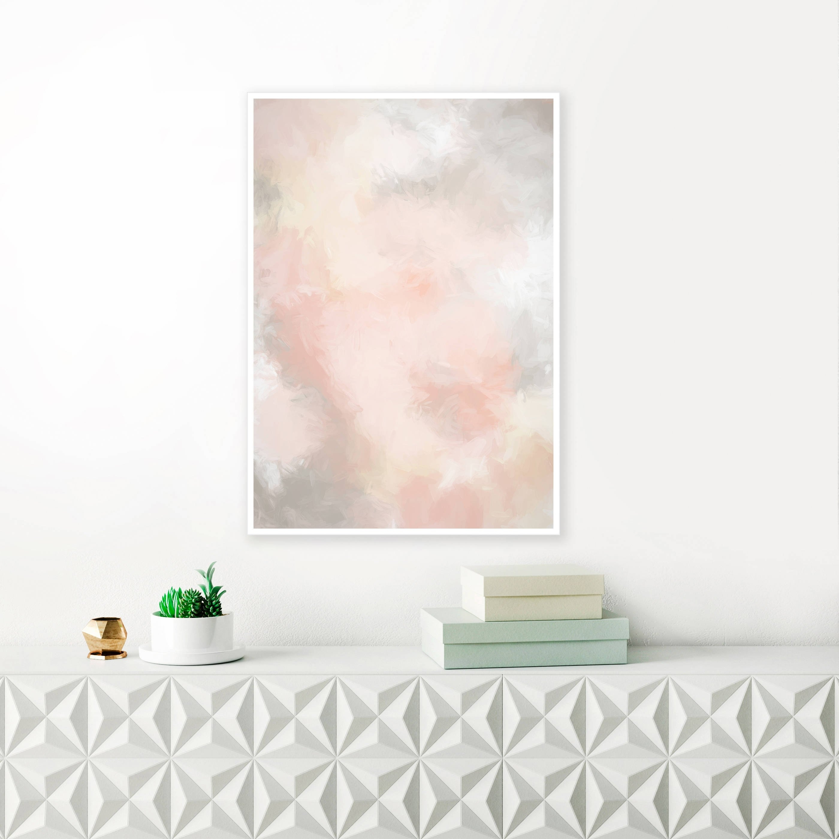 Blush Pink And Grey Painting, Pink Abstract Art, Pink Wall Art, Pale With Recent Grey Wall Art (View 8 of 20)