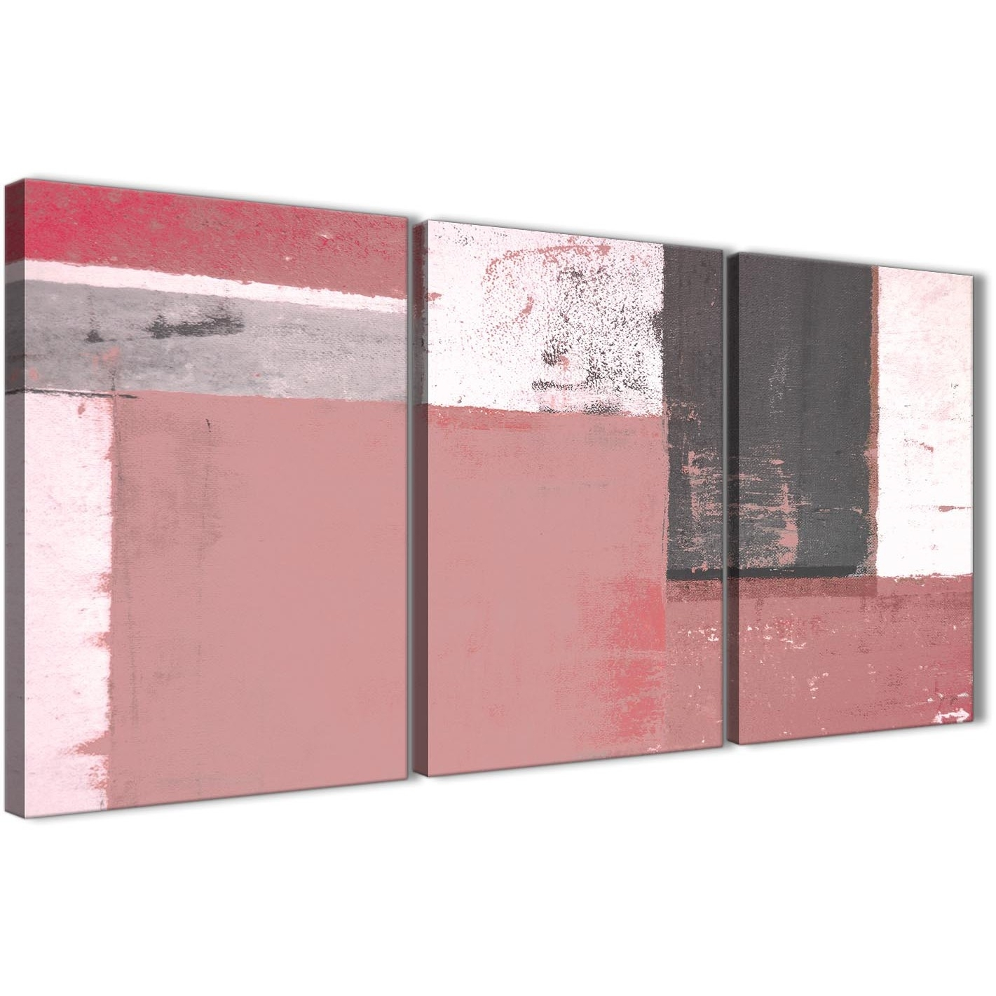 Blush Pink Grey Abstract Painting Canvas Wall Art Print – Multi 3 Within 2018 Pink Wall Art (View 6 of 20)