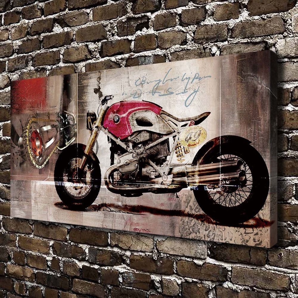 Bmw Harley Motorcycle Hd Print On Canvas Home Decor, Motorcycle Wall Throughout 2017 Motorcycle Wall Art (Gallery 18 of 20)