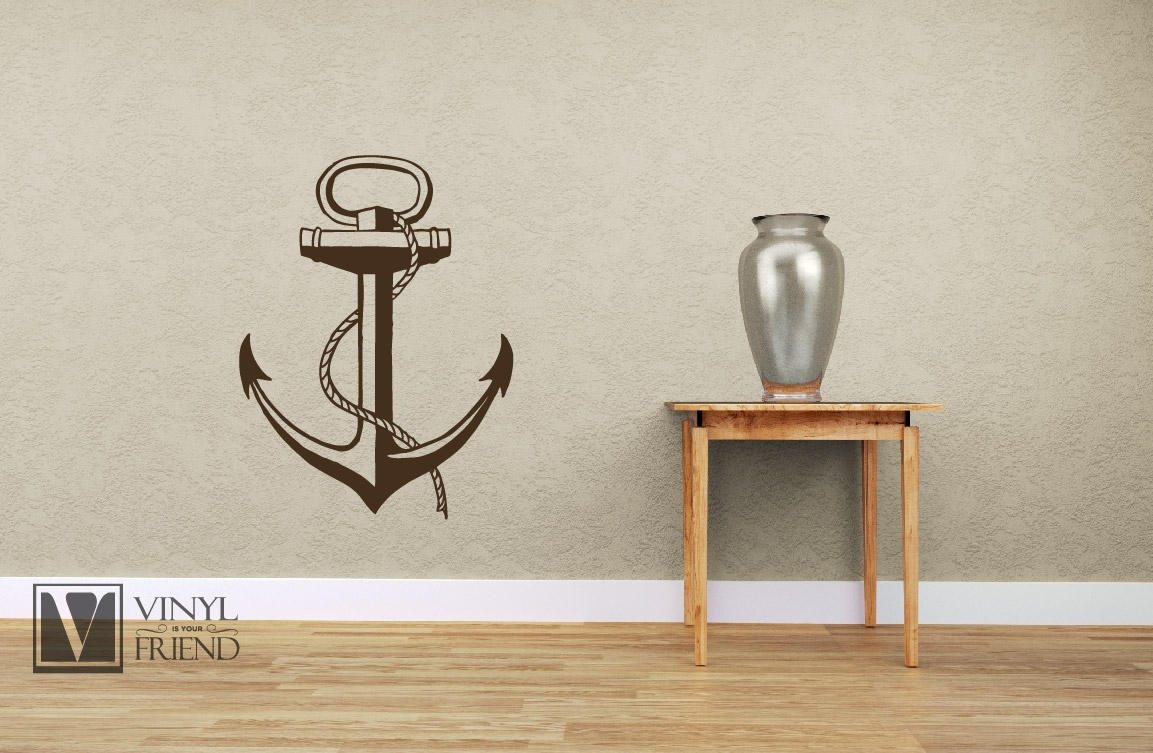 Boat Anchor Nautical Vinyl Wall Decor Art For A Sea Man Navy Ship Or Inside Most Popular Anchor Wall Art (View 7 of 20)