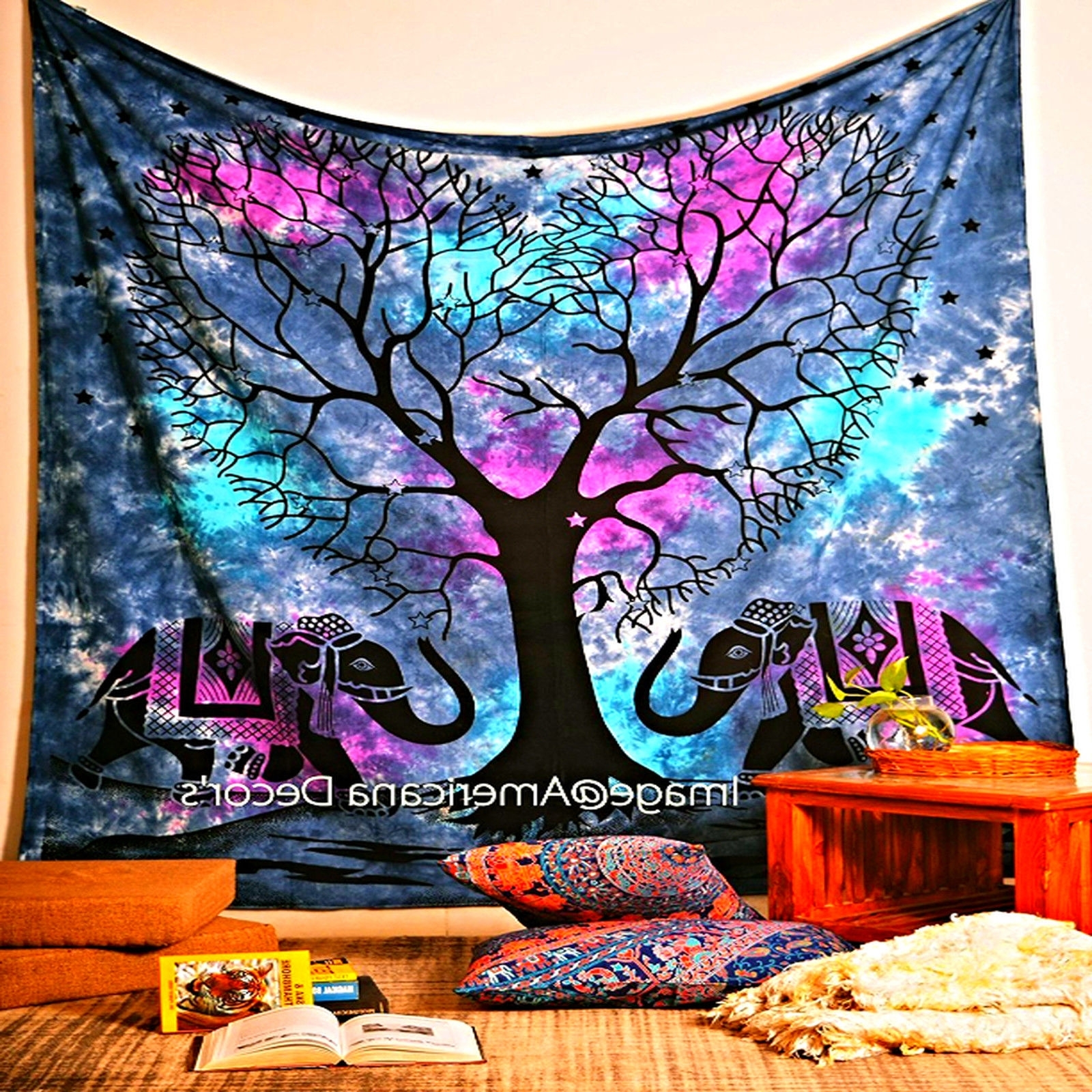 Bohemian Wall Art Tapestry Tree Elephant Indian Bedspread Blanket Pertaining To Latest Bohemian Wall Art (View 6 of 20)