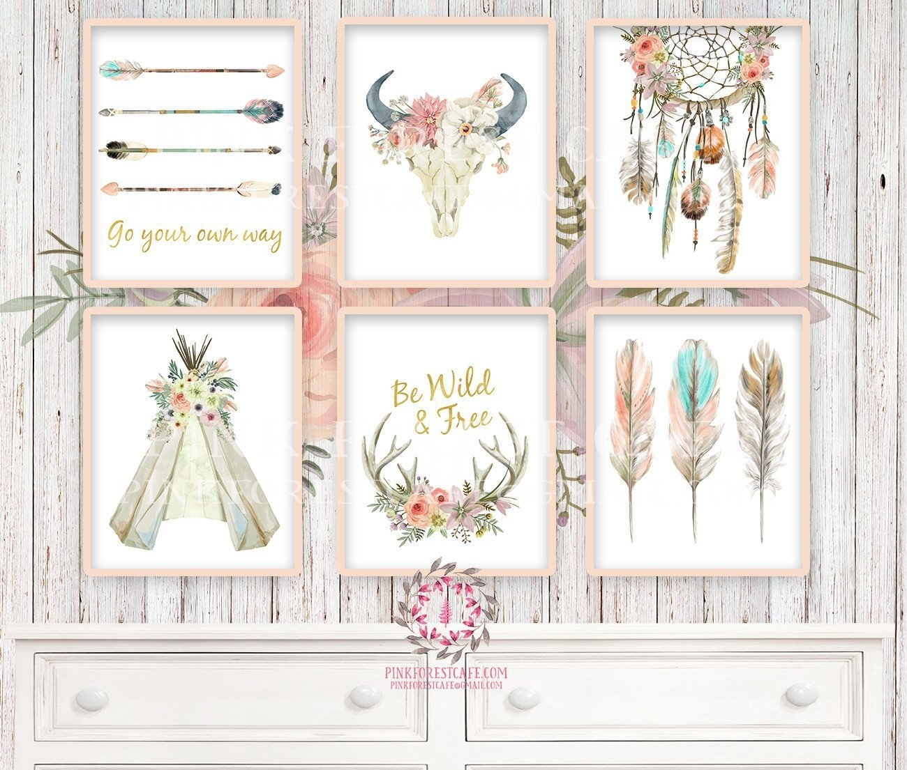 Boho Nursery Print Wall Art Set Of 6 Teepee Antlers, Bohemian With Regard To Most Recent Bohemian Wall Art (Gallery 17 of 20)