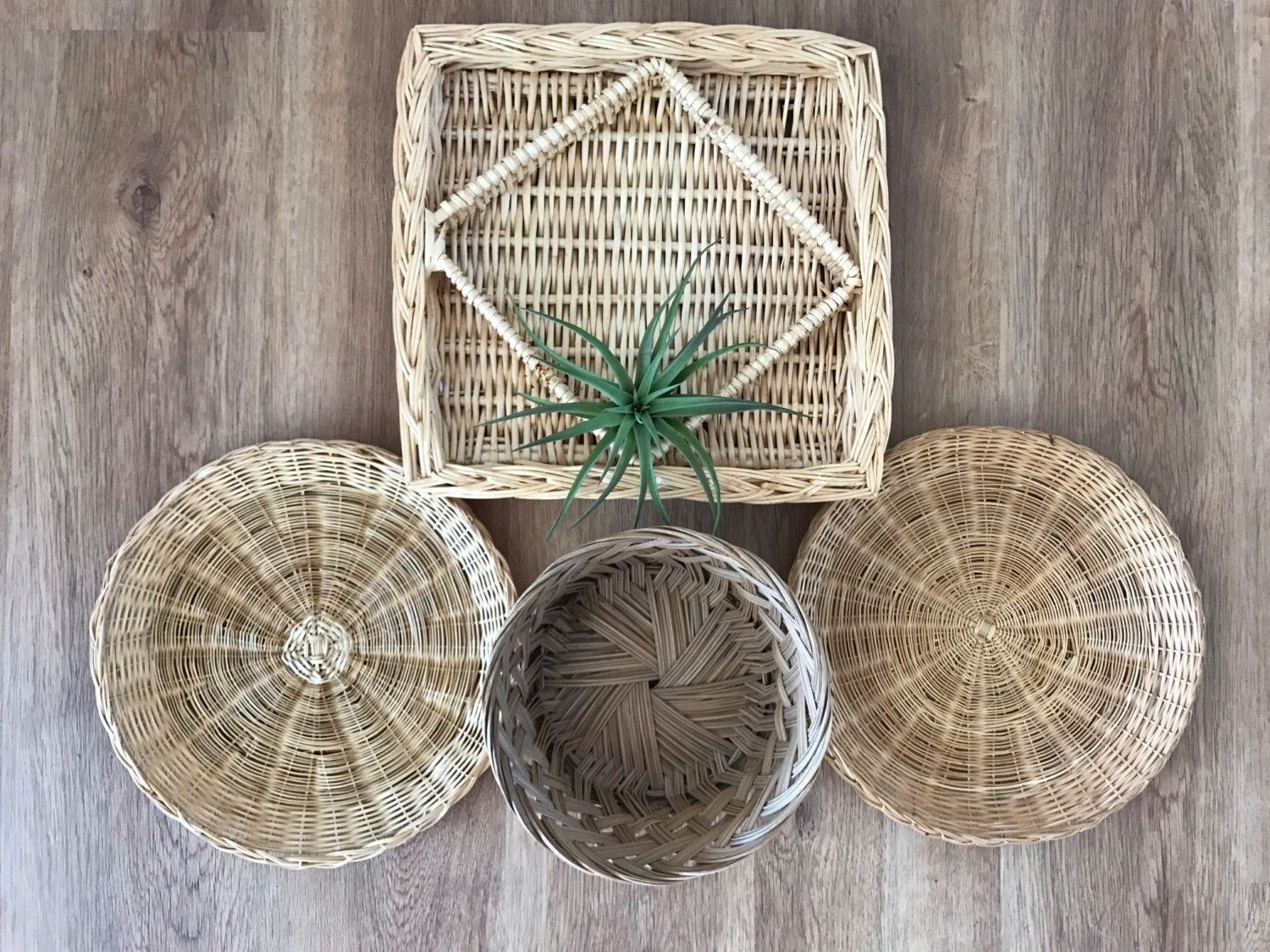 Boho Vintage Ser Of Wicker Rattan Woven Wall Hanging Baskets Within Latest Woven Basket Wall Art (Gallery 19 of 20)
