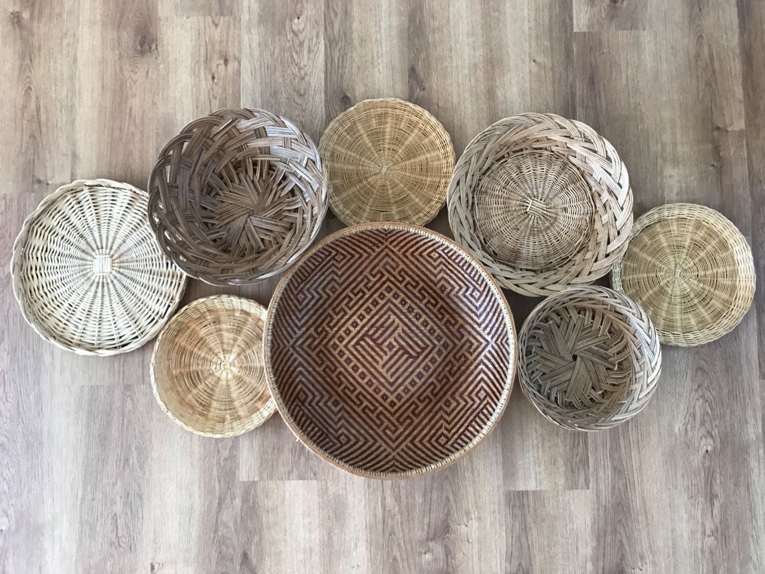 Boho Vintage Set Of Wicker Rattan Woven Wall Hanging Baskets Intended For Newest Woven Basket Wall Art (View 14 of 20)