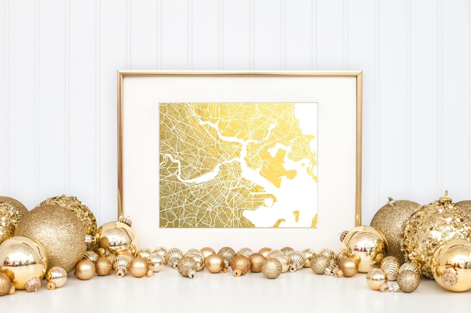 Boston Map Gold Foil Print Boston Wall Art Gold Foil Map, Gold Wall For Recent Gold Foil Wall Art (View 1 of 20)