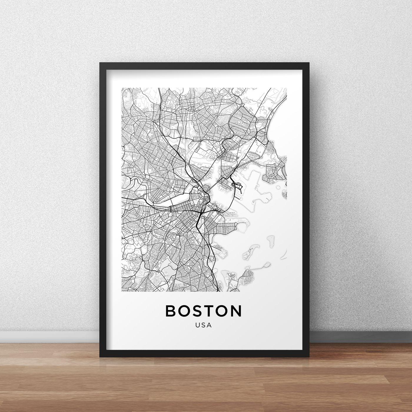 Boston Map Print, Printable Boston Map, Boston City Map, Boston For Most Recent Boston Wall Art (View 4 of 20)