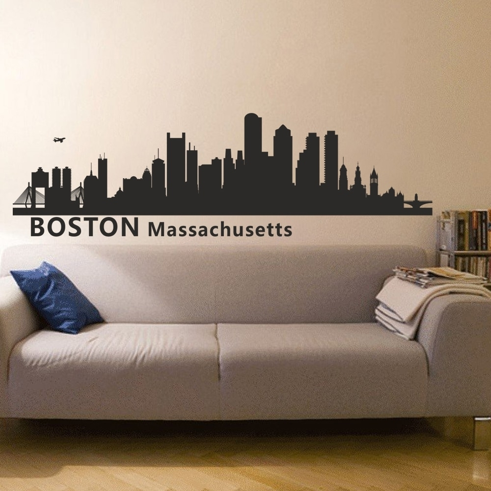 Boston Massachusetts City Skyline Silhouette Wall Decal Skyline With 2018 Boston Wall Art (View 4 of 20)