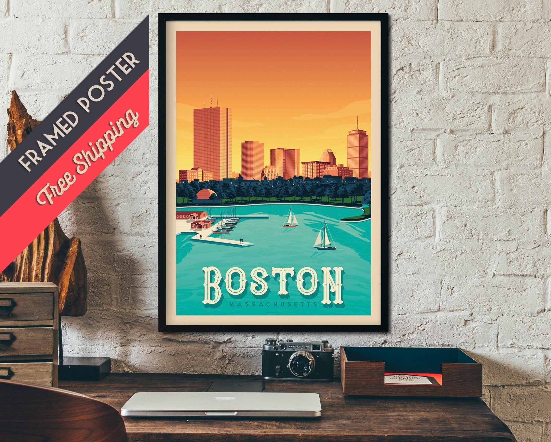 Boston Massachusetts Usa Travel Poster, Vintage Print, Framed Poster Pertaining To Most Up To Date Boston Wall Art (View 6 of 20)