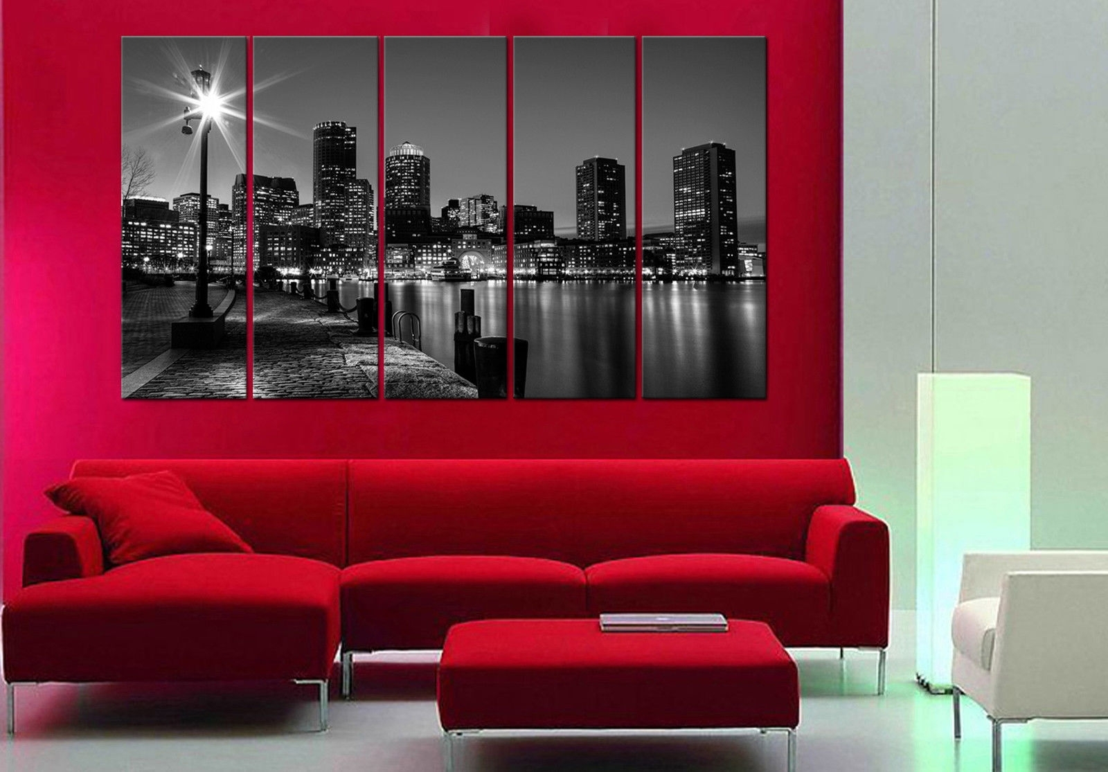 Boston Night 5 Piece Mounted Fiber Board Canvas Wall Art/better Than With 2018 Boston Wall Art (Gallery 11 of 20)