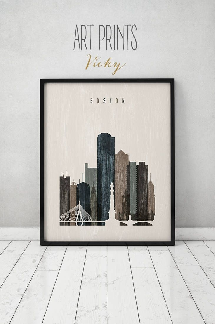 Boston Wall Art, Boston Art, Print, Boston Skyline, Poster With Regard To Most Up To Date Boston Wall Art (Gallery 3 of 20)
