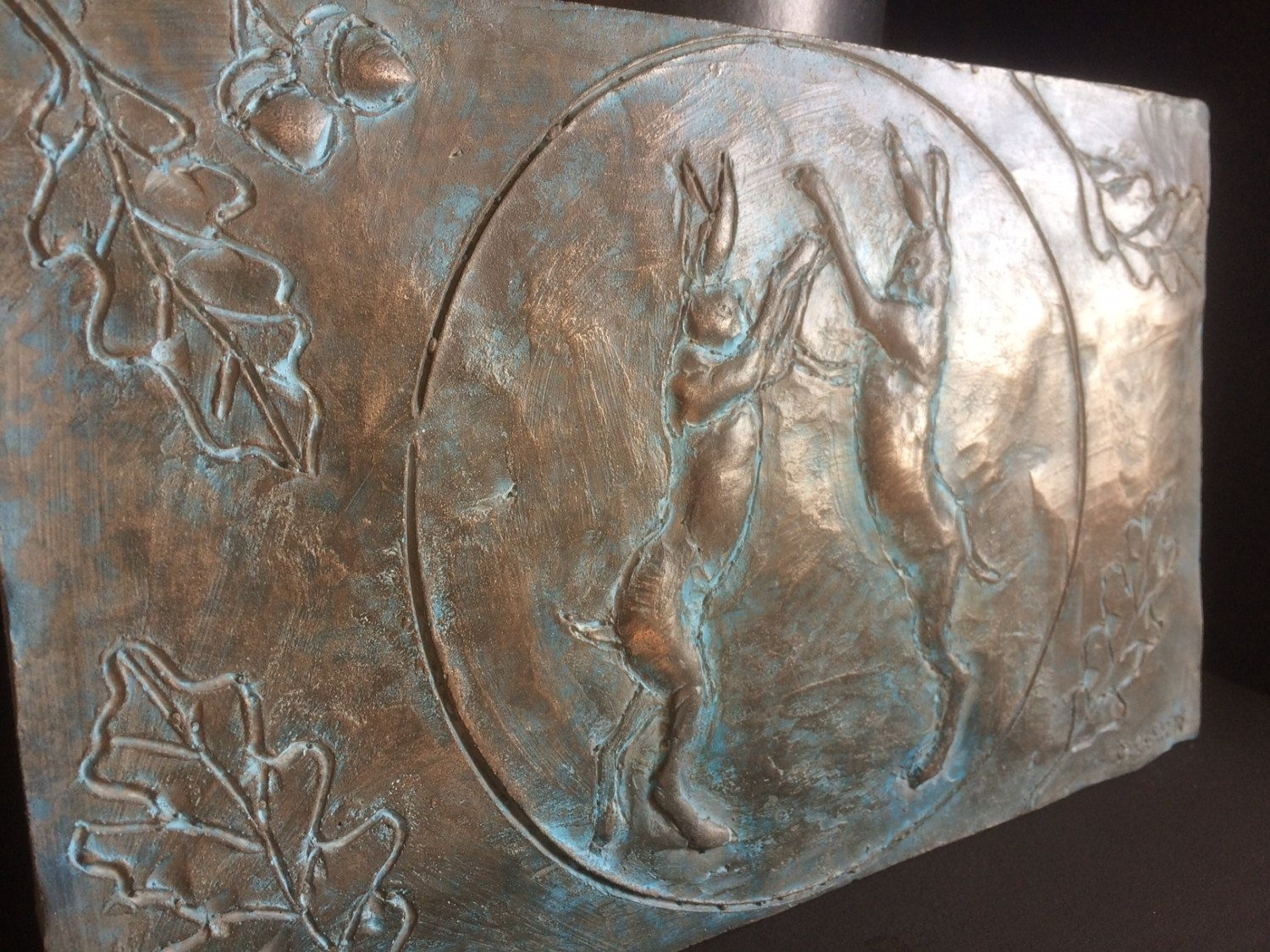 Boxing Hares Bronze Wall Art, Beautiful Artwork For The Home Or In Recent Bronze Wall Art (View 3 of 20)
