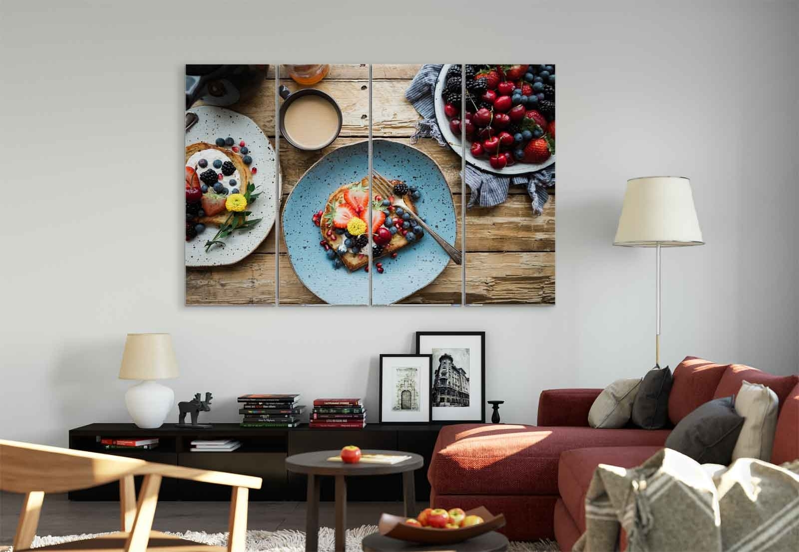 Breakfast Berries Toast Coffee Canvas & Glass Wall Art Pictures (Fw Throughout 2017 Coffee Wall Art (View 3 of 15)