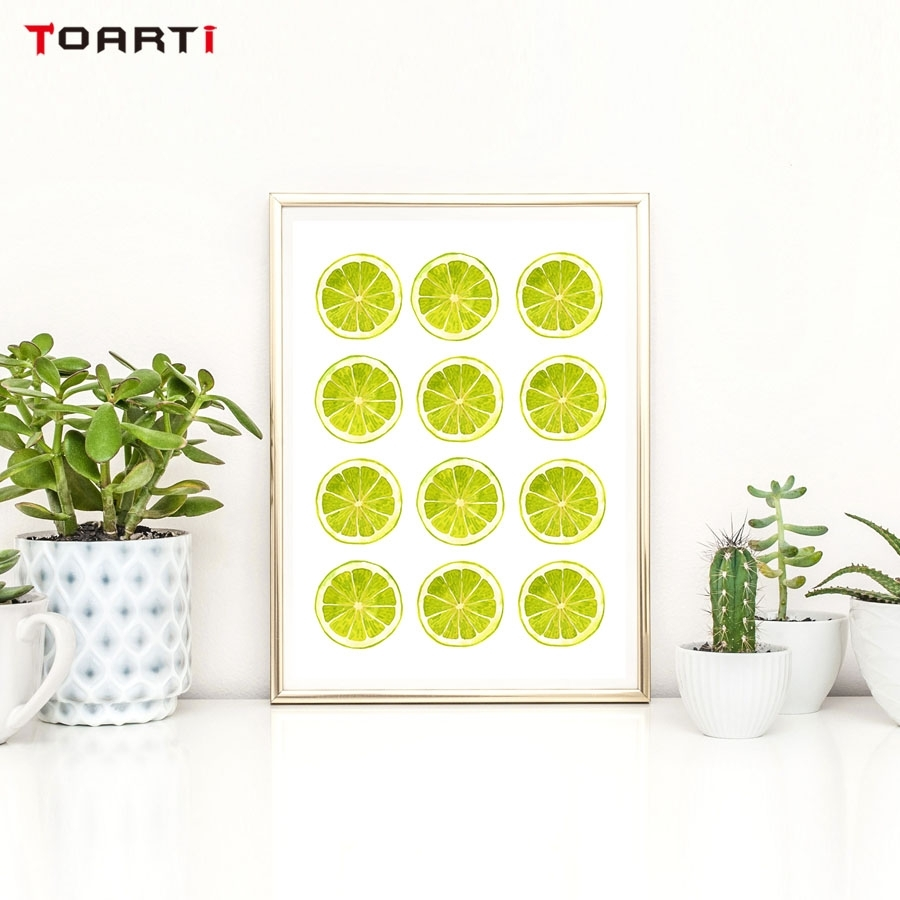 Bright Colors Yellow Green Lemon Wall Art Canvas Painting Kitchen Pertaining To Most Popular Lemon Wall Art (View 11 of 20)