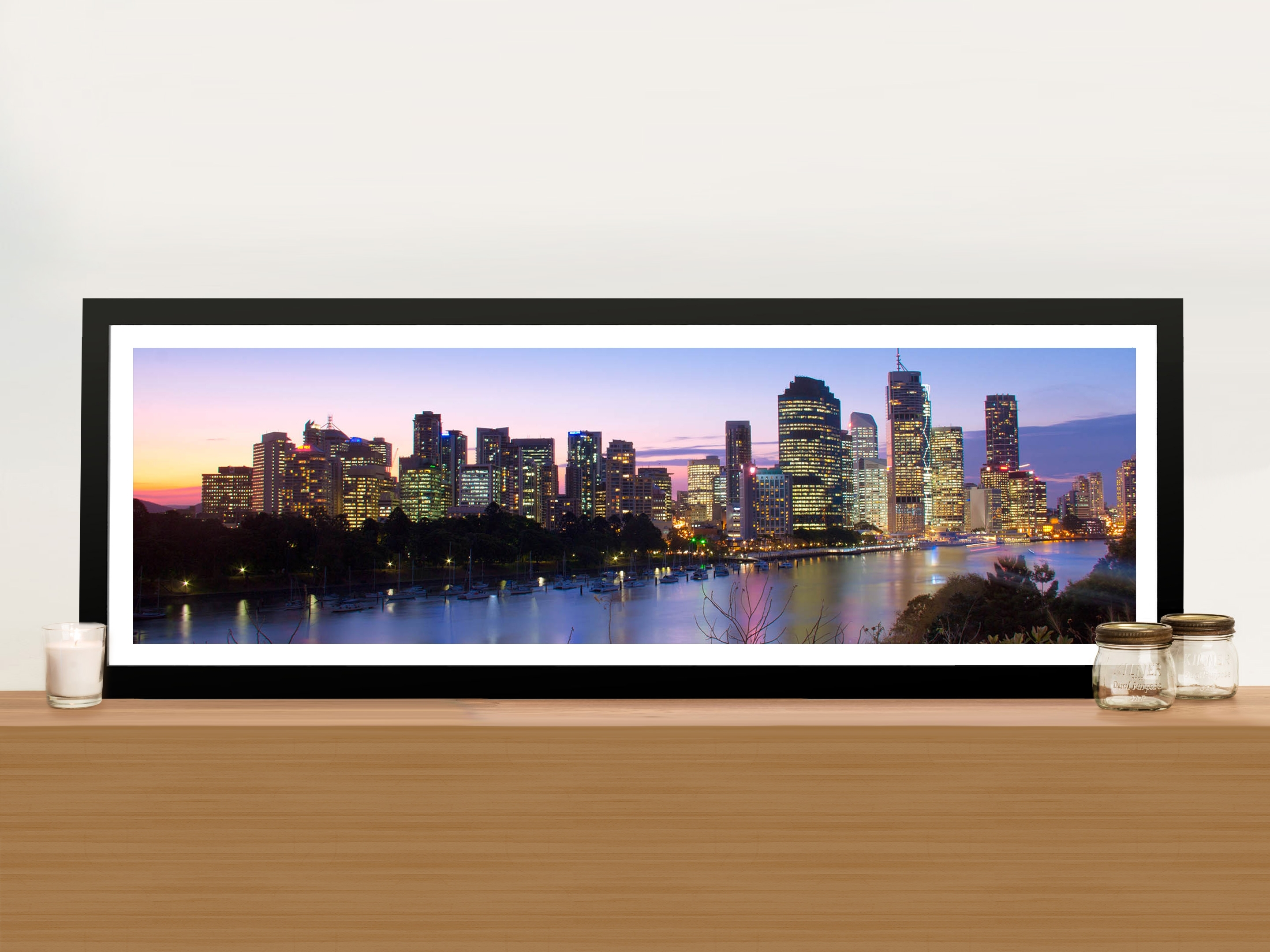 Brisbane Skyline In Panoramic View Picture Art Print On Canvas Pertaining To 2018 Panoramic Wall Art (View 4 of 15)