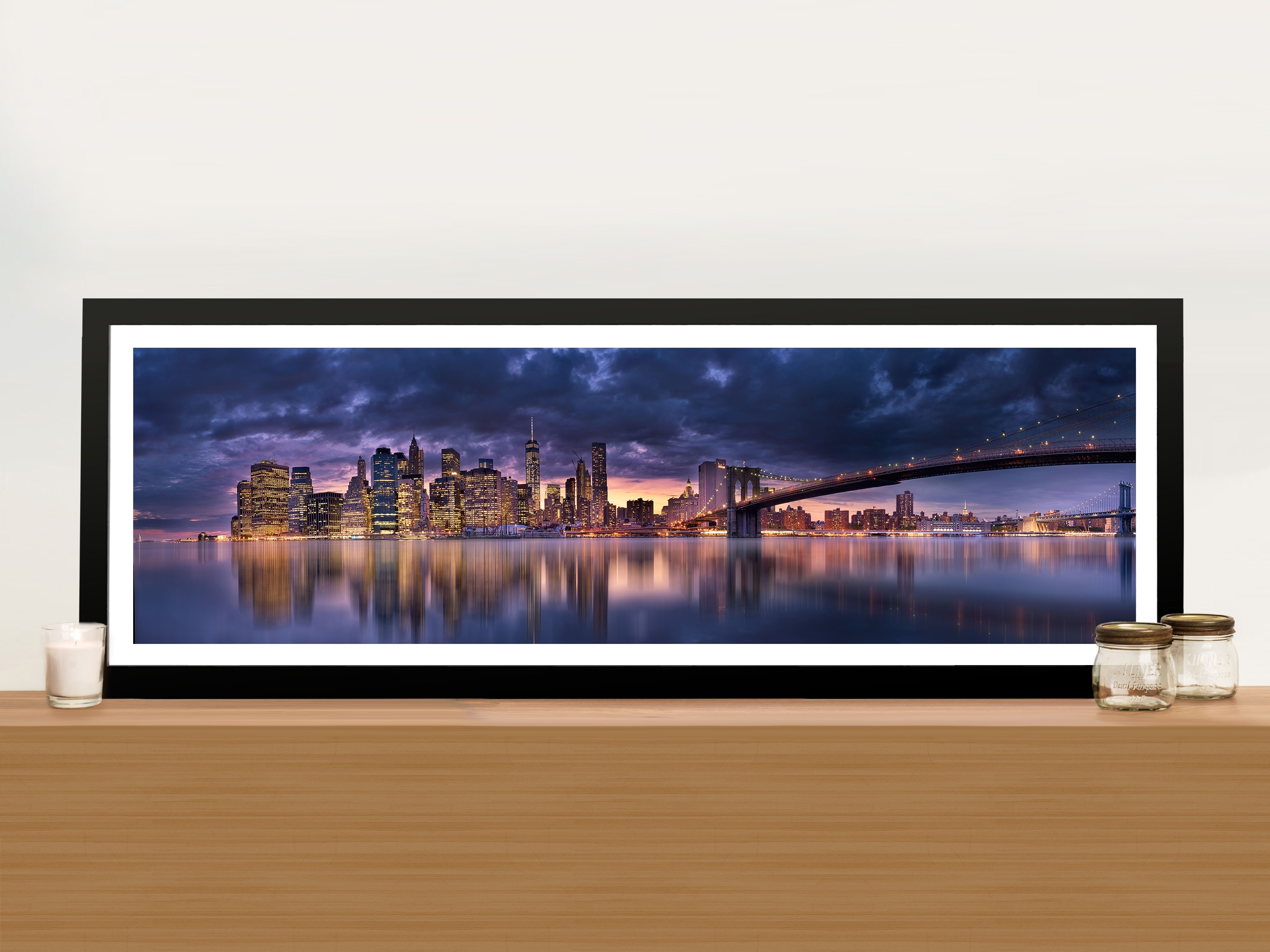 Brooklyn Bridge New York Panoramic Wall Art Print On Canvas Online Art Intended For 2017 Panoramic Wall Art (Gallery 7 of 15)