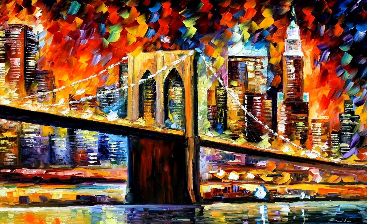 Brooklyn Bridge — Palette Knife Oil Painting On Canvas Wall Art Throughout Most Recent Nyc Wall Art (View 3 of 20)