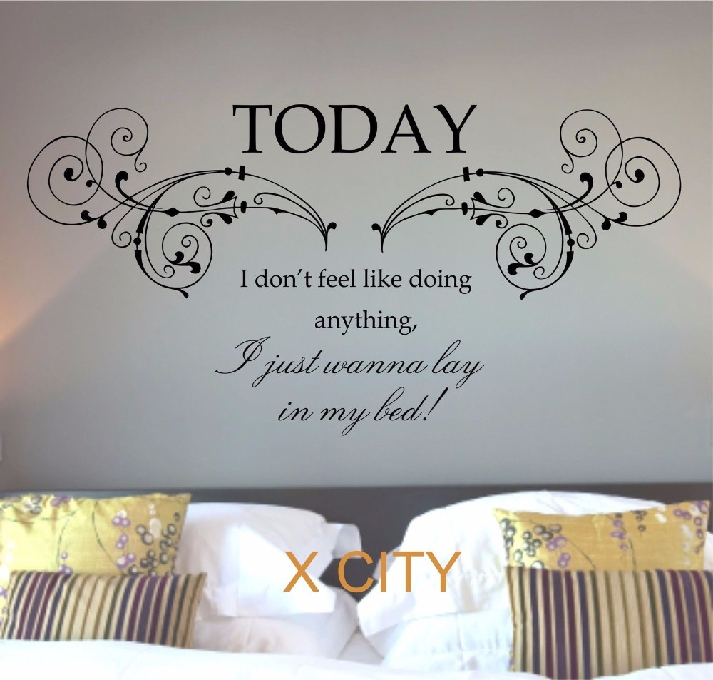 Bruno Mars Lazy Today Lyrics Song Quote Words Wall Art Sticker Mural Pertaining To Recent Song Lyric Wall Art (View 10 of 20)