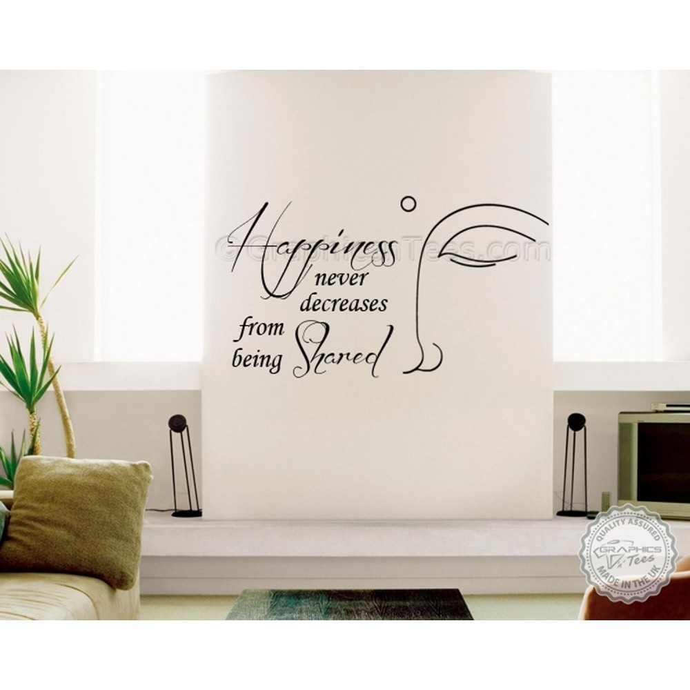 Buddha Inspirational Wall Sticker Quote, Happiness Never Decrease With Regard To Recent Inspirational Wall Art (View 3 of 15)