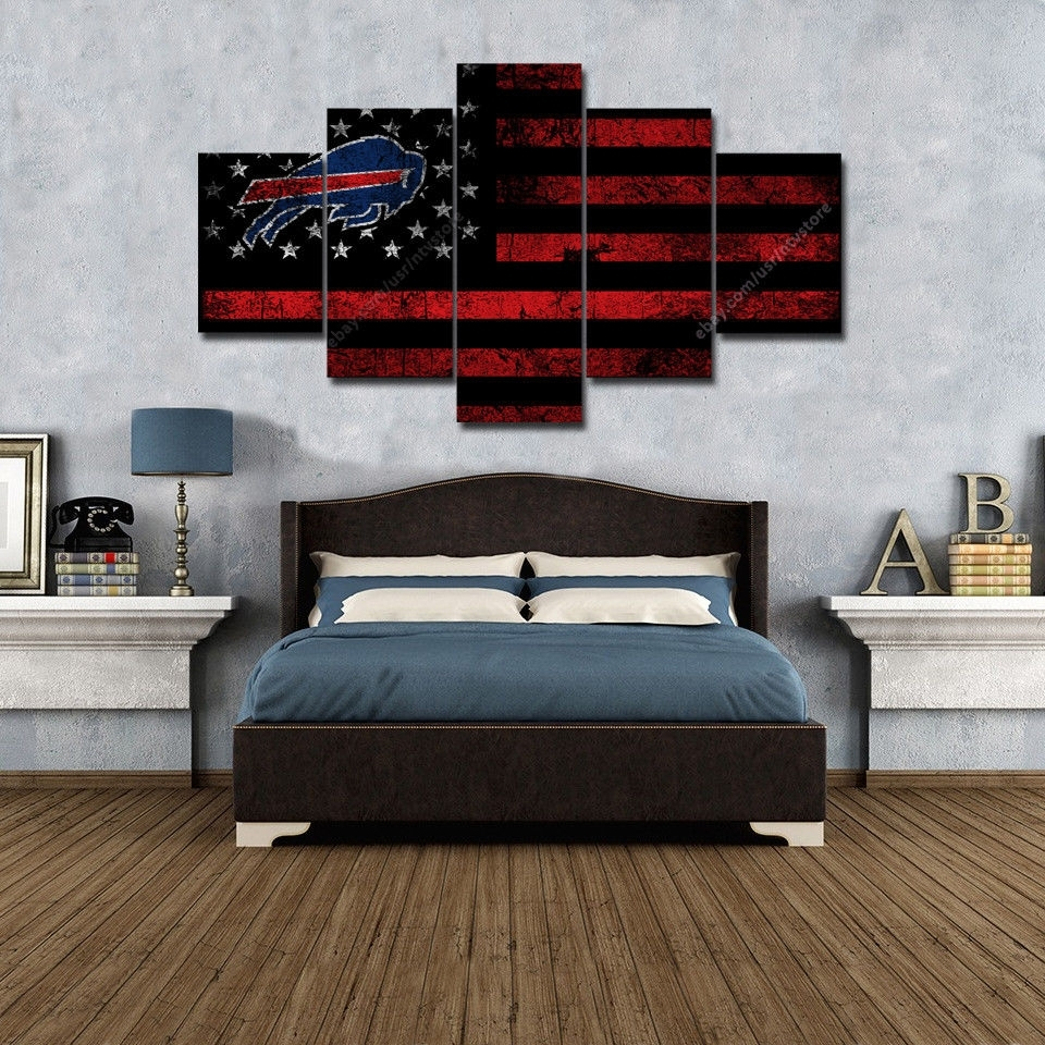 Buffalo Bills Wall Art Vintage American Flag Canvas 5 Piece Football Inside 2018 Vintage American Flag Wall Art (View 11 of 20)