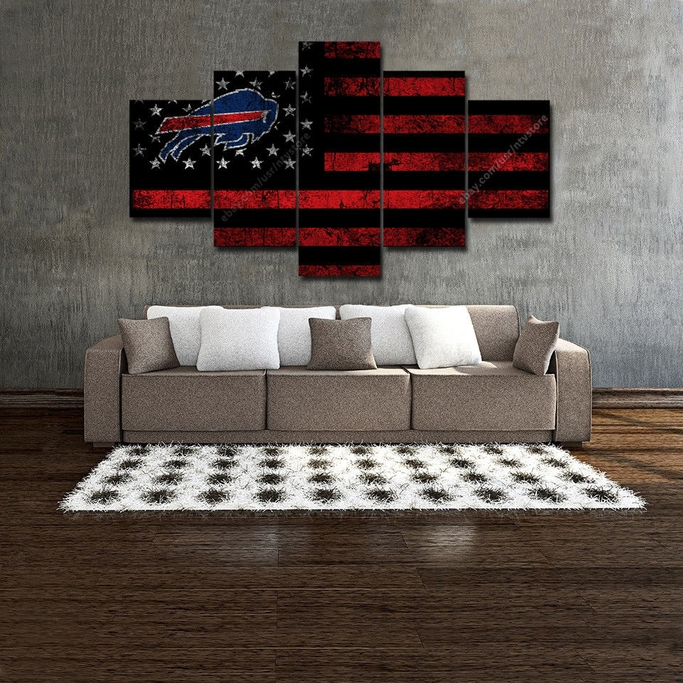 Buffalo Bills Wall Art Vintage American Flag Canvas 5 Piece Football With Regard To Most Popular Vintage American Flag Wall Art (View 3 of 20)