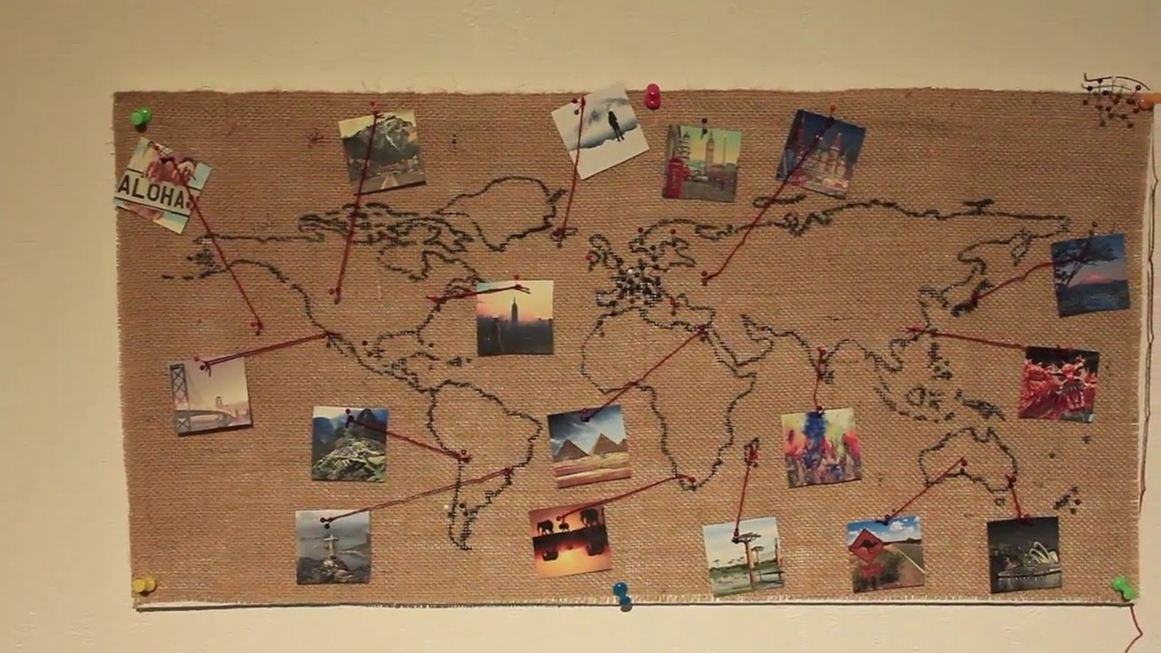 Burlap World Map Wall Decoration (diy) – Youtube Regarding Current Diy World Map Wall Art (View 12 of 20)