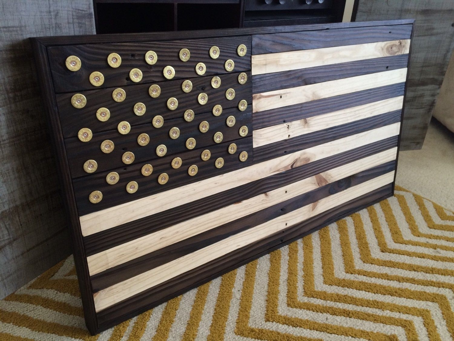 """Burned Wood American Flag With Winchester Shotgun Shell """"star"""" Head Pertaining To Most Popular Wooden American Flag Wall Art (View 8 of 20)"""