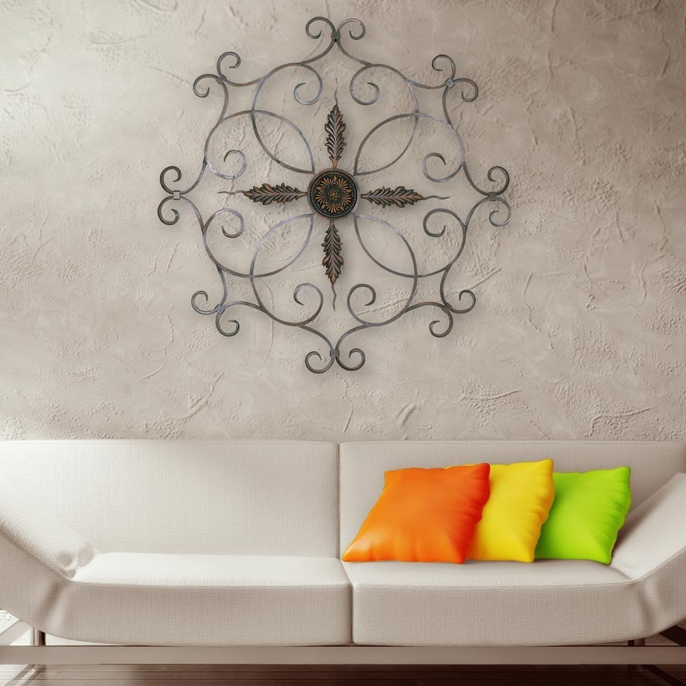 Burnt Copper Scrolled Iron Medallion Metal Work Wall Decor 2180 Regarding Latest Ceiling Medallion Wall Art (View 1 of 15)