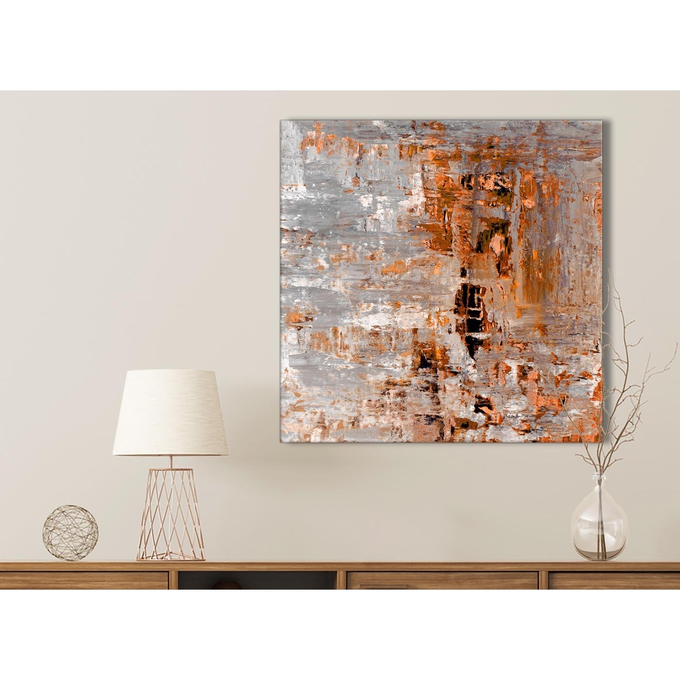 Burnt Orange Grey Painting Bathroom Canvas Wall Art Accessories Inside Most Up To Date Wall Art (View 14 of 15)