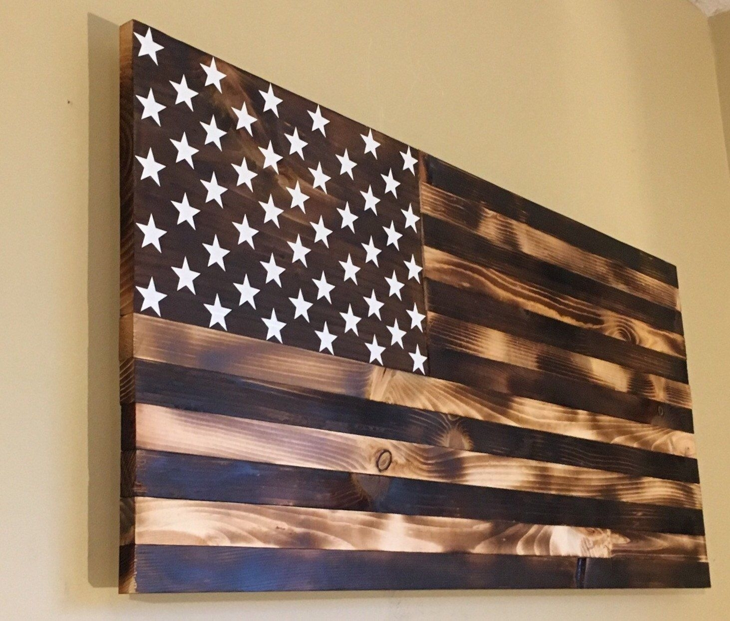 Burnt Wooden American Flagcountryboycraftin On Etsy | His Dream Intended For Newest Wooden American Flag Wall Art (View 1 of 20)