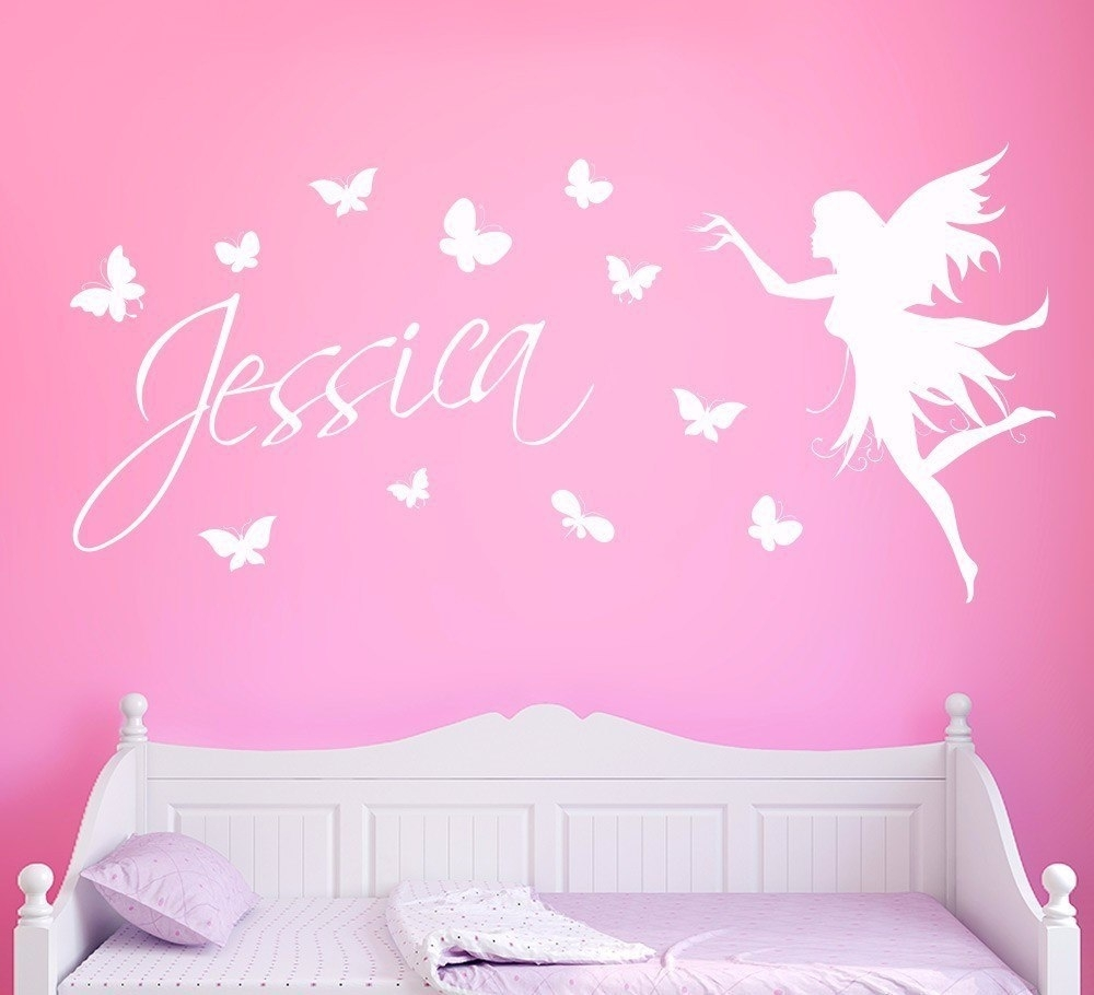 Butterflies Personalised Name Wall Sticker Kids Home Decor Butterfly Pertaining To Most Recent Name Wall Art (Gallery 9 of 20)