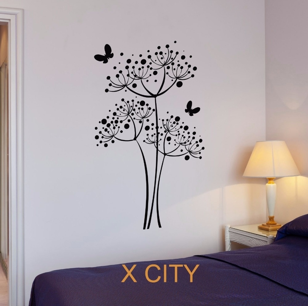 Butterfly Dandelion Flowers Wall Art Decal Sticker Removable Vinyl In Newest Stencil Wall Art (View 3 of 20)