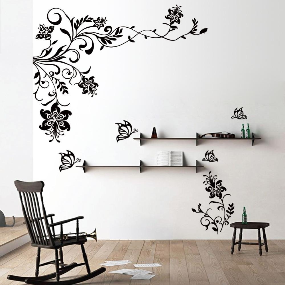 Butterfly Vine Flower Wall Decals Vinyl Art Stickers Living Room Inside 2018 Wall Art Stickers (View 14 of 15)