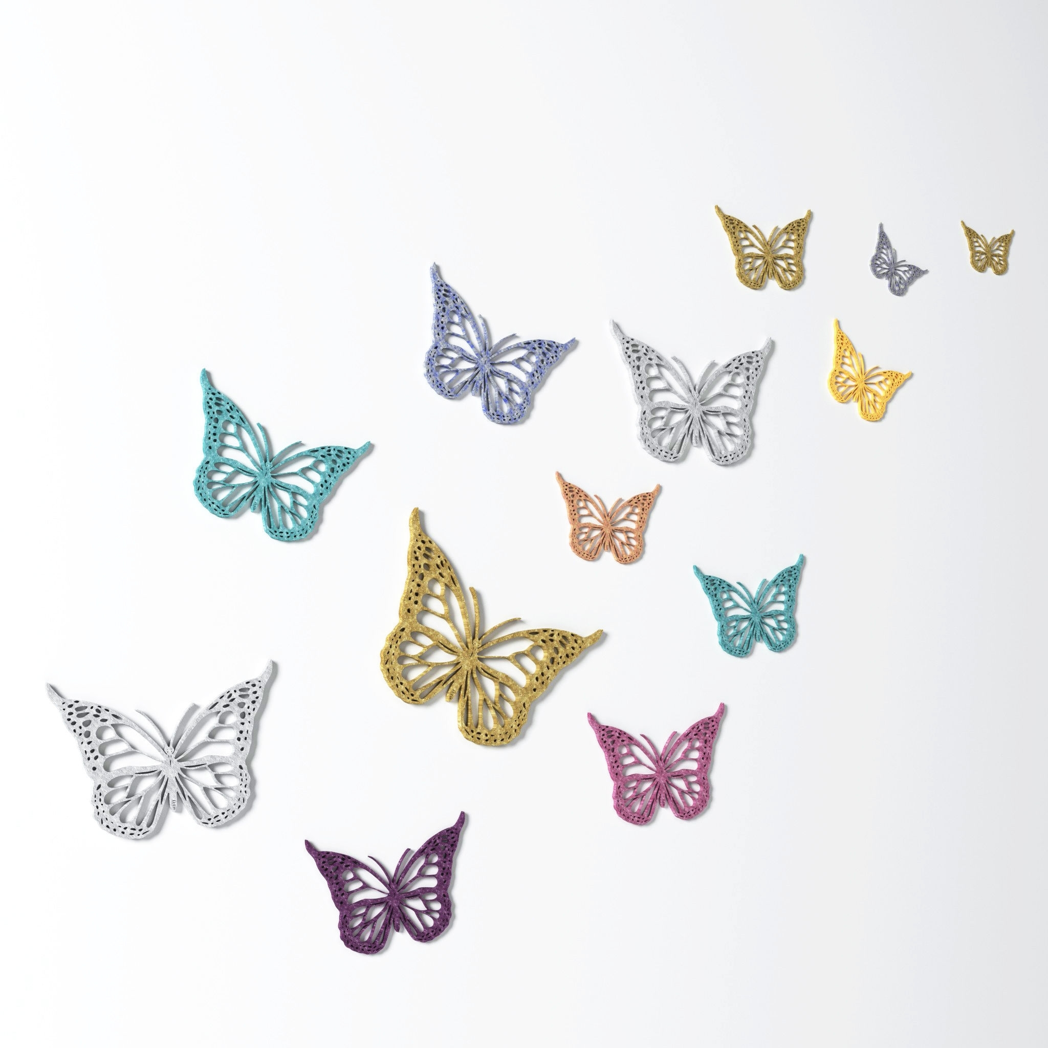 Butterfly Wall Decoration – Wall Art 3D | Cgtrader Pertaining To Latest Butterfly Wall Art (View 4 of 15)
