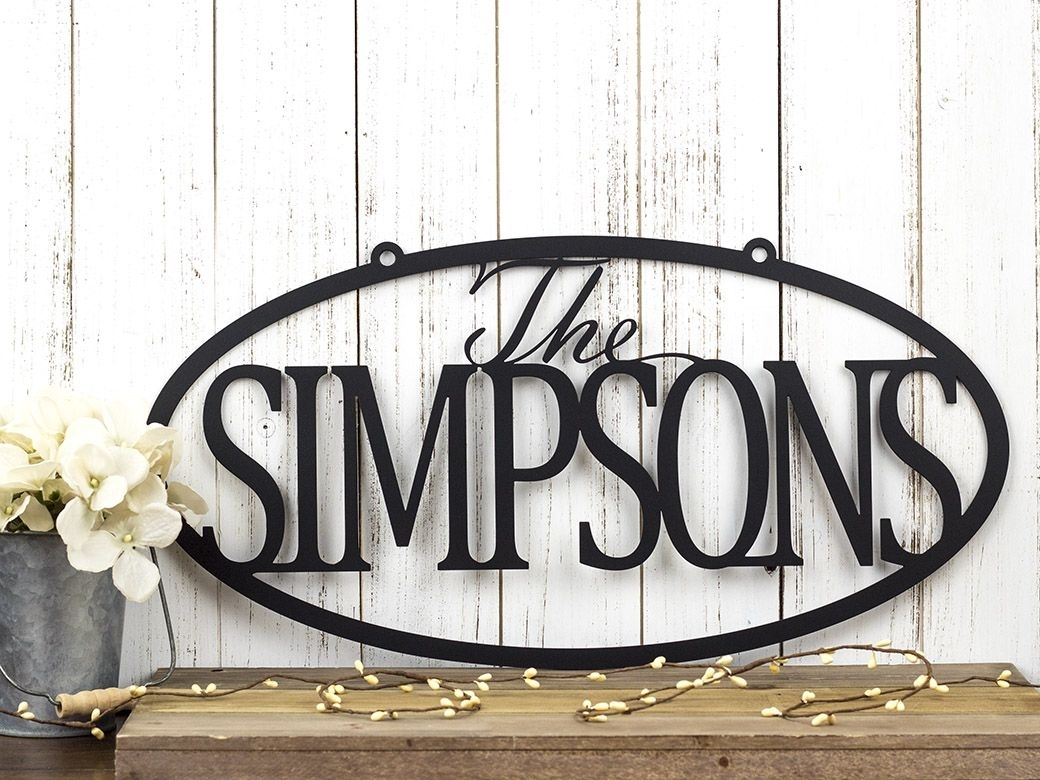 Buy A Hand Crafted Custom Family Last Name Metal Sign | Metal Wall Throughout Most Current Family Name Wall Art (View 1 of 20)
