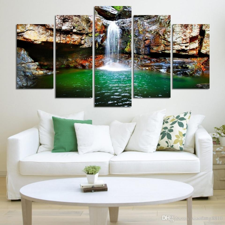 Buy Cheap Paintings For Big Save, 5 Panel Waterfall Painting Canvas Pertaining To Most Current Cheap Large Canvas Wall Art (View 19 of 20)