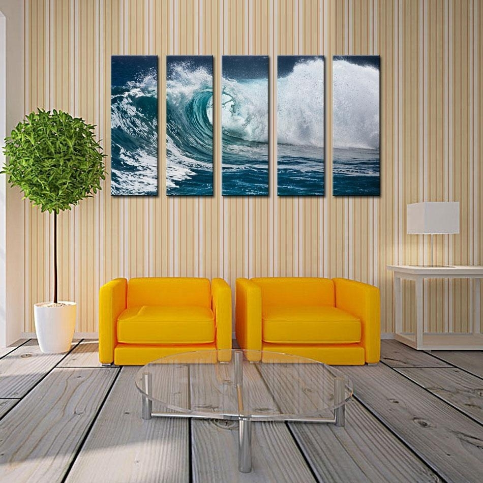 Buy Cheap Paintings For Big Save, Wave Seascape Print On Canvas With Most Current Ocean Wall Art (View 8 of 20)