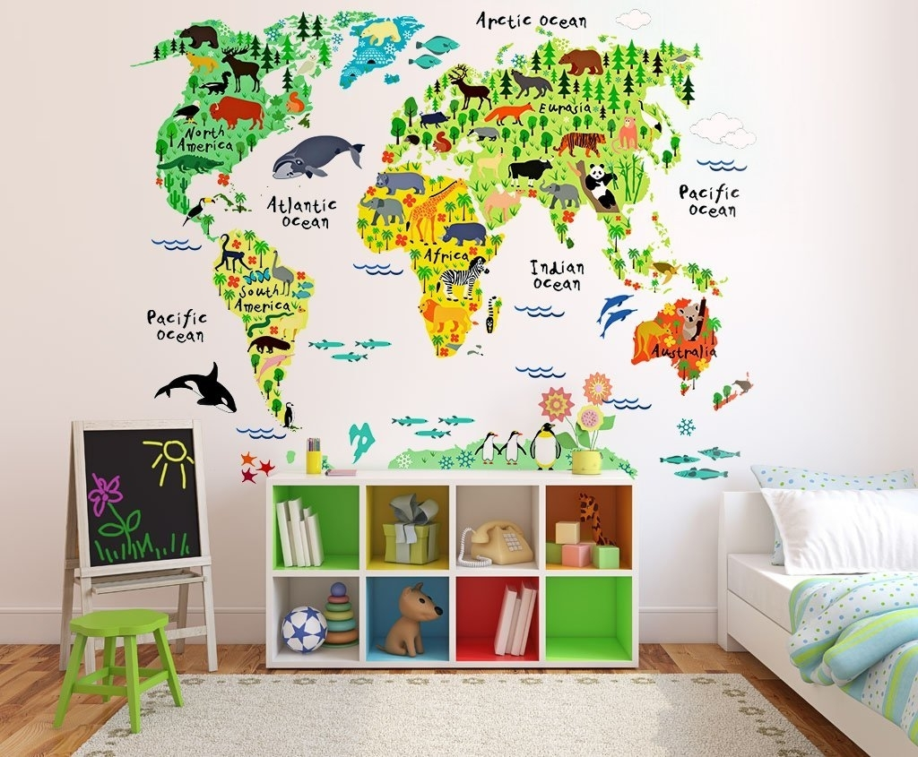 Buy Kids Educational Animal World Map Wall Stickers Eveshine Peel With Regard To Most Recent Vinyl Wall Art World Map (View 6 of 20)